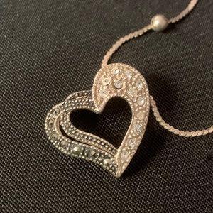 Sterling Heart Pendant Marcasite & Rhinestones